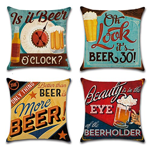 ULOVE LOVE YOURSELF Cotton Linen Throw Pillow Case Square Decorative Cushion Cover with Beer Pattern 18 X 18 Inch Pillow Covers,4 Pack