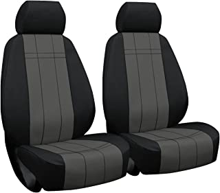 Front Seats: ShearComfort Custom Waterproof Cordura Seat Covers for Ford F150 (2015-2019) in Black w/Gray for Buckets w/Adjustable Headrests (No fit on Raptor)