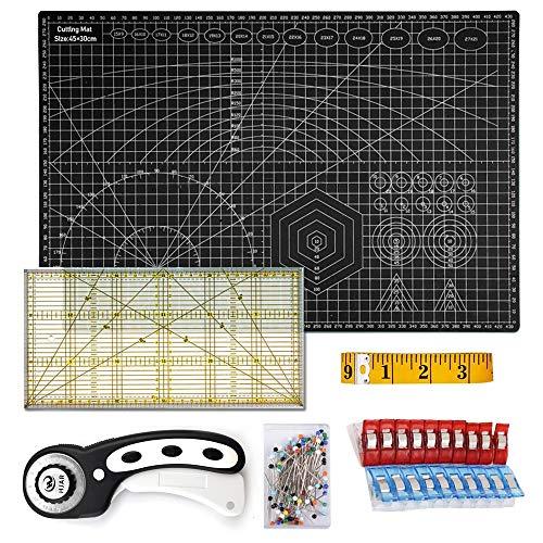 O'woda A3 Schneidematte Set + Stoffschneider Rollschneider + Patchwork-Lineal + Stoffklammer (20 Stück) + Stecknadeln (50 Stück) + Schneidermaßband (300cm) 6tlg- Schneidematte Starter Set(Schwarz)