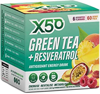 Green Tea X50 Green Tea & Resveratrol Assorted Flavour Energy Drink Powder 60 Sachets, Energy, Fat Burner,, Peach, Tropica...