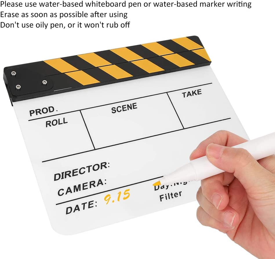 Acrylic Plastic 30x25CM//11.8x9.8 Directors Clap Board for Role Playing//Editing//Camera Photography Colorful Striped White Board Hopcd Film Clapperboard