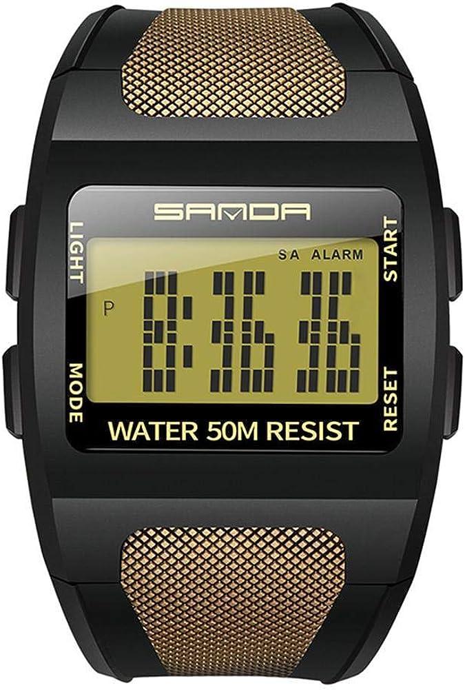 Reloj electrónico para hombre, luz de fondo LED, multifunción, esfera ancha, reloj de pulsera digital, 50M, reloj deportivo impermeable