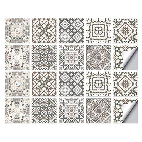 Bestine Baldosas pegatinas, auto adhesivo impermeable Teja marroquí del Medio Ambiente etiquetas engomadas DIY 15 x 15 cm Multicolor