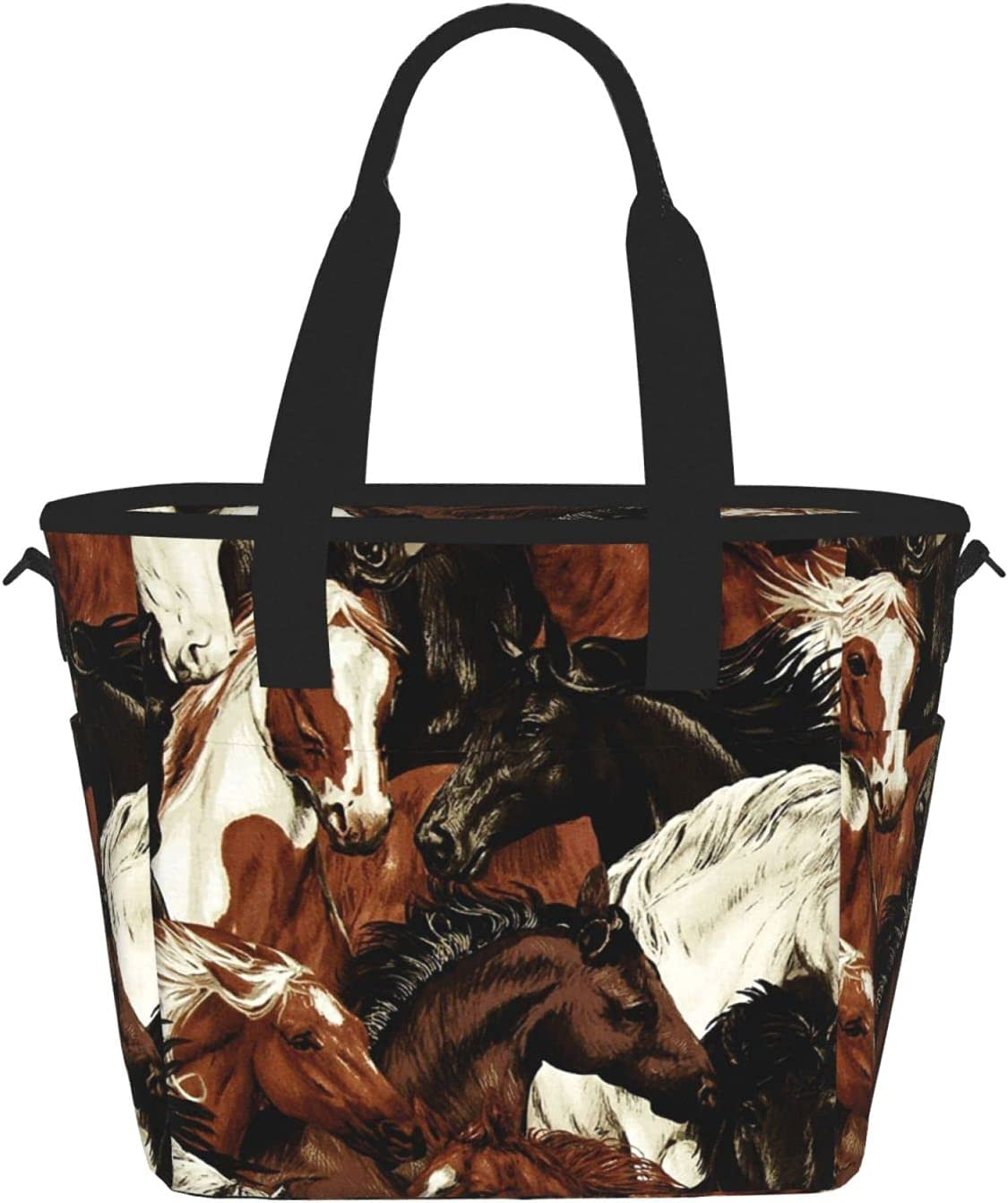 Brown White Horse Ranking TOP1 Head Reusable Insulated Co Food Tote Lunch Virginia Beach Mall Bag