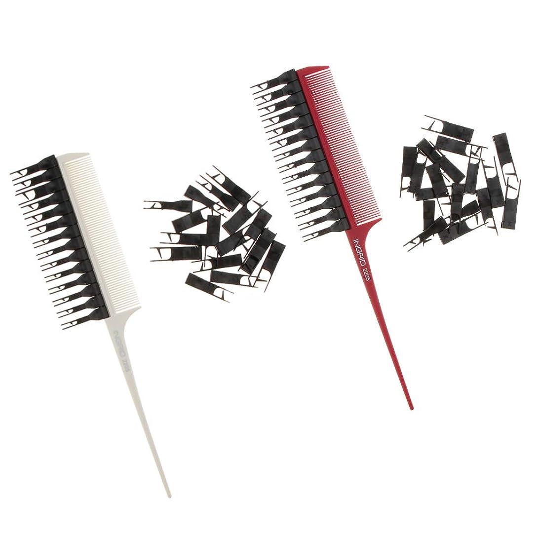 逆さまにどこにでも誘発するPerfeclan ハイライトブラシ ヘアブラシ 髪染めブラシ 2個セット