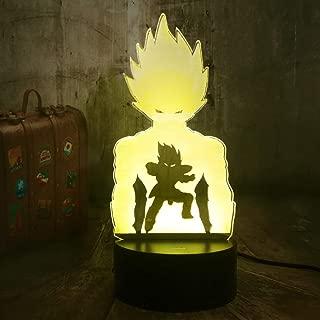 Anime Dragon Ball Z Action Figures Super Saiyan God Son Goku Vegeta 3D Optical Illusion LED Night Light Boy Kids Toys Christmas Gift Bedroom Decor Solution for Nightmares(Dragon Ball Z)