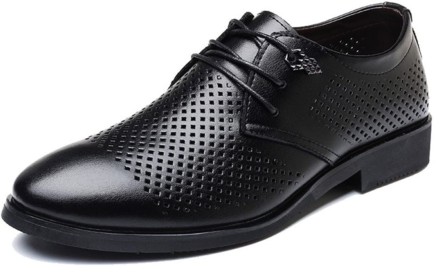 LEDLFIE Men's Real Leather shoes Fashion Breathable Casual Leather shoes Hollow Lace-up shoes