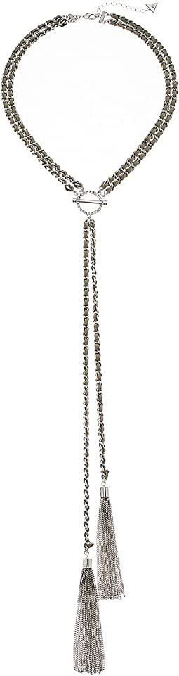 Dainty Woven Chain Y-Necklace with Tassel Ends