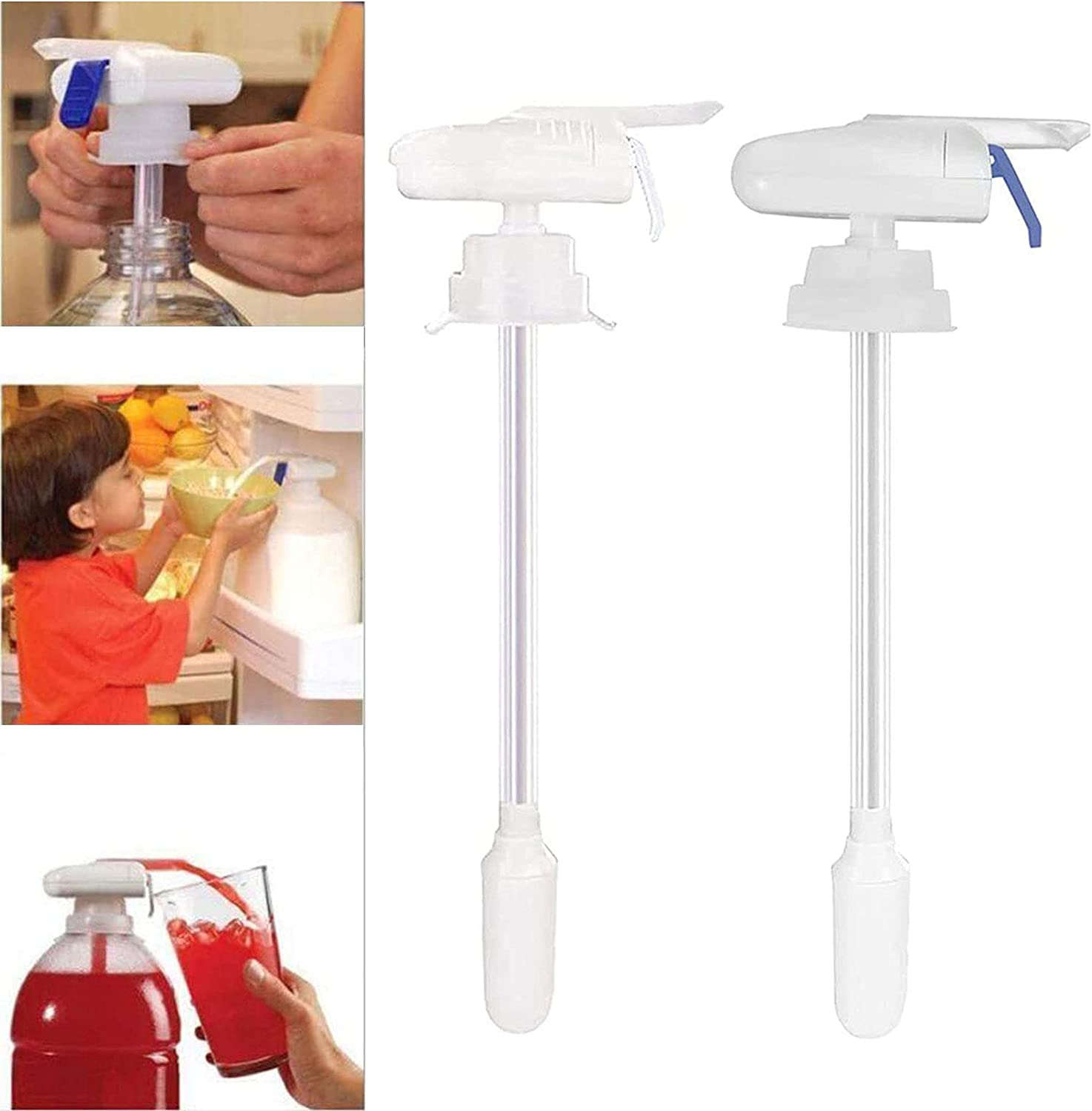 SIMPLICHIC Automatic Drink Dispenser Gadget, The Magic Tap Electric Automatic Water & Milk Dispenser Fridge Tap, Portable Plastic Spill Proof Beverage Pump Dispenser Straw for Juice, Beer (Both)