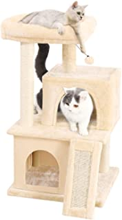 PAWZ Road Cat Tree Luxury Cat Tower with Double Condos, Spacious Perch, Fully Wrapped Scratching Sisal Posts and Replaceable Dangling Balls