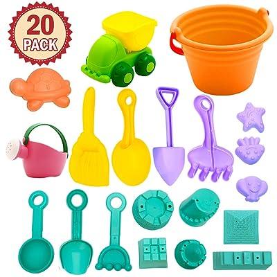 FunsLane 20 Pcs Beach Toys for Toddlers, Sandbo...
