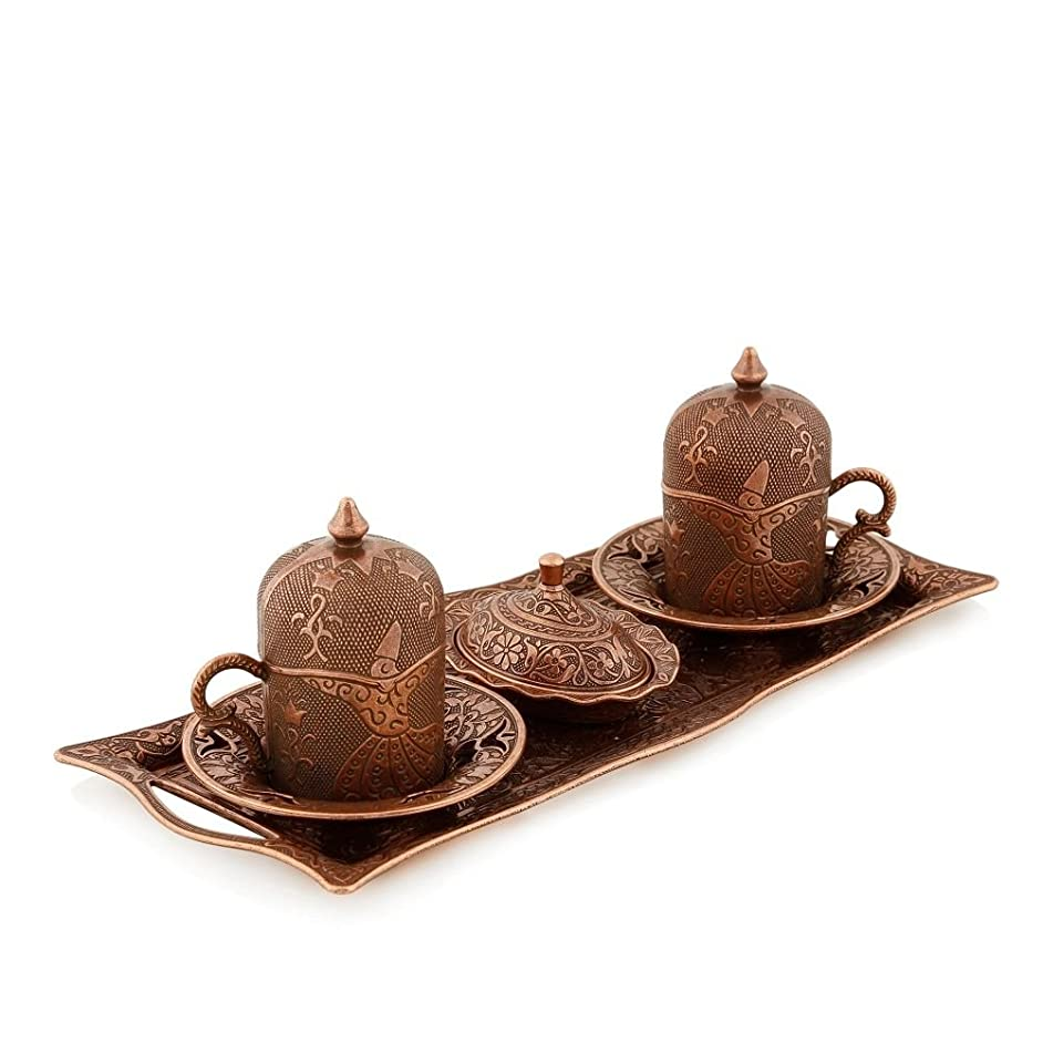 Gold Case Copper plated Turkish, Arabic, Greek and Espresso Coffee Set for 2 - Made in Turkey - 11 pieced set, Copper