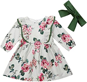 JYC 2019 Baby Girl Dresses Toddler Kids Long Sleeve Flowers Princess Dress Hair Band Outfits