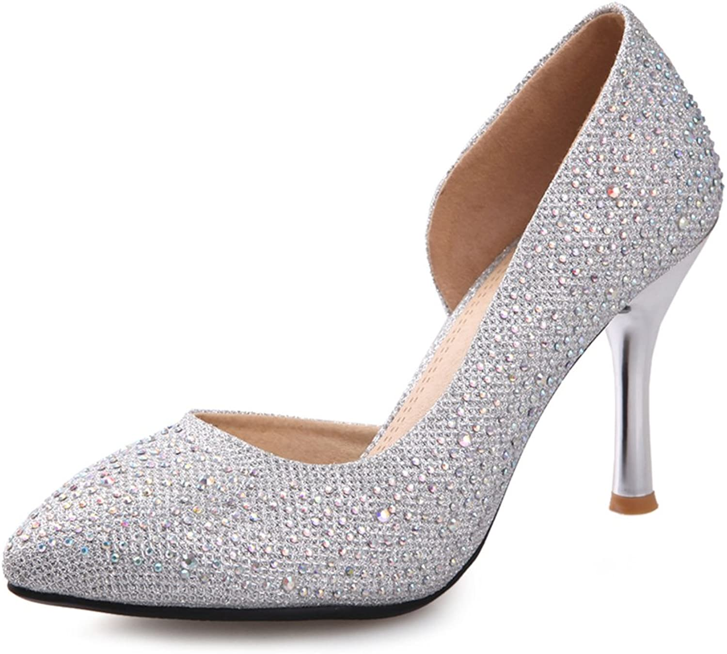 RHFDVGDS silver wedding shoes High heel rhinestone Crystal shoes Stiletto heels shoes Pointed toes thin shoes