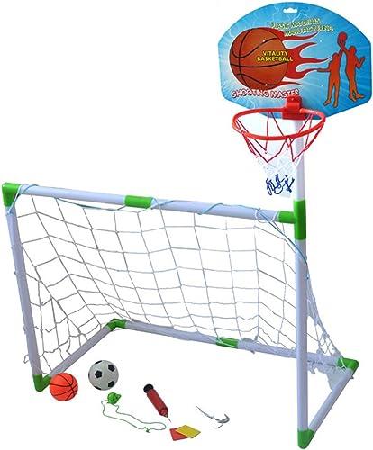 Byjia Fußball und Basketball Tor 2 in 1, mit Fußball Basketball und Pumpe, Kinder Sport Outdoor Home Spiel Spielzeug