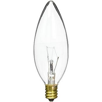 220 Volt 40-Watt High Voltage Incandescent Flame-Tip Chandelier Bulb Bulbrite 40CFC//HV Candelabra Base Clear