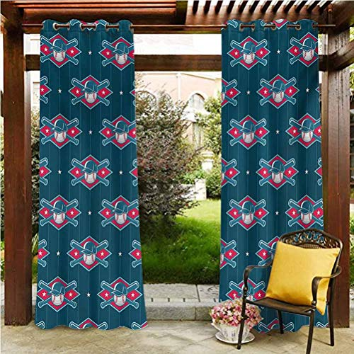 Sports Outdoor Curtain Voile Drapes for Lawn Corridor Terrace Garden Modern Baseball Pattern Competing Player Uniform Fun Games Artwork Petrol Blue Hot Pink White 96' W by 96' L(K245cm x G245cm)