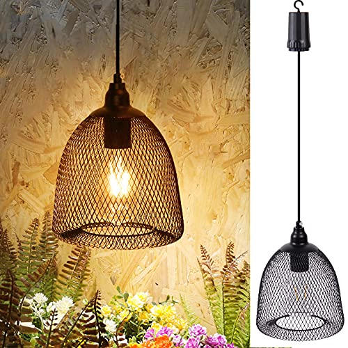 Battery Operated Hanging Lantern, Outdoor Indoor Chandelier Pendent Lamp Lights with Timer, Metal Hanging Lighting Decor for Bar Patio Yard Garden Porch Home (Battery Operate with 6 Hours Timer)