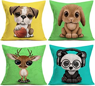 Asamour 4 Pack Cartoon Lovely Animal Baby Portrait Throw Pillow Covers Adorable Pet Dog Rabbit Panda Moose Cotton Linen Cushion Cover Pillow Case Kid's Room Decor Pillowcase 18''x18'',Colorful