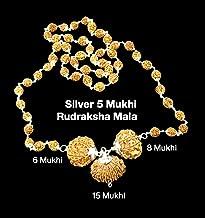 Rudraksha Combination for Business 6,8,15 Mukhi Nepal in Silver Mala IGL Lab Certified Original Genuine Beads (Big)