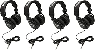 Tascam TH-02B Padded Foldable Recording Mixing Home & Studio Headphones (4 Pack)