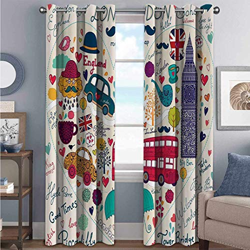 London Decor Collection Shading insulated curtain Colorful Set of Symbols Bus Big Ben Tea Umbrella Hat Retro Cab Fit in a Heart Picture For living room or bedroom W100 x L84 Inch Red Pink Blue Purple