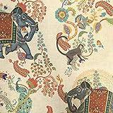 Tela por metros de loneta estampada digital - Half Panamá 100% algodón - Ancho 280 cm - Largo a elección de 50 en 50 cm | Elefantes y monos - Beige, naranja, azul, verde
