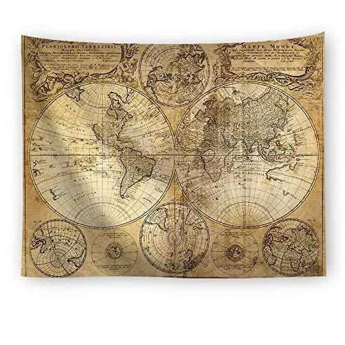 Kevin Bin Vintage Mittelalter Welt Karte Serie Muster Wand hängenden Renaissance gedruckt Wandbild warmen Raumdekor Art Wandteppiche
