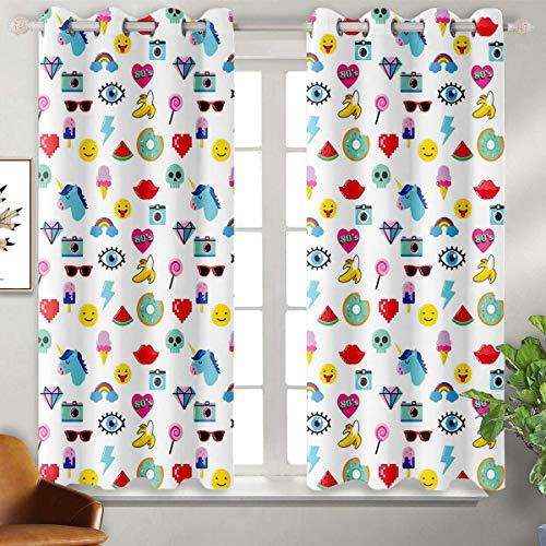 June Gissing Emoji Chinese Style Curtain Pop Art Style Cartoon Icons Unicorn Watermelon Banana Pixel Heart Thunder Bolt Eye IndoorDarkeningCurtains W55 x L72 Multicolor