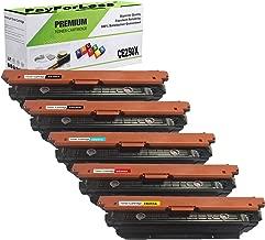 PayForLess Compatible 504X CE250X CE250A CE251A CE252A CE253A Toner Cartridge 5PK for HP Color Laserjet CP3525n CP3525dn CP3525 CP3525x CM3530 CM3530fs with Chip