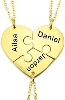 Personalized 2/3/4/5 Pieces Pendant Heart Necklace...