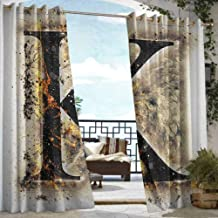 Andrea Sam Exterior/Outside Curtains Letter K,Smoked Letter K Alphabet in Blaze with Grunge Design Ignited Writing Symbol, Tan Black Orange,W84 xL96 Outdoor Curtain Waterproof Rustproof Grommet Drape