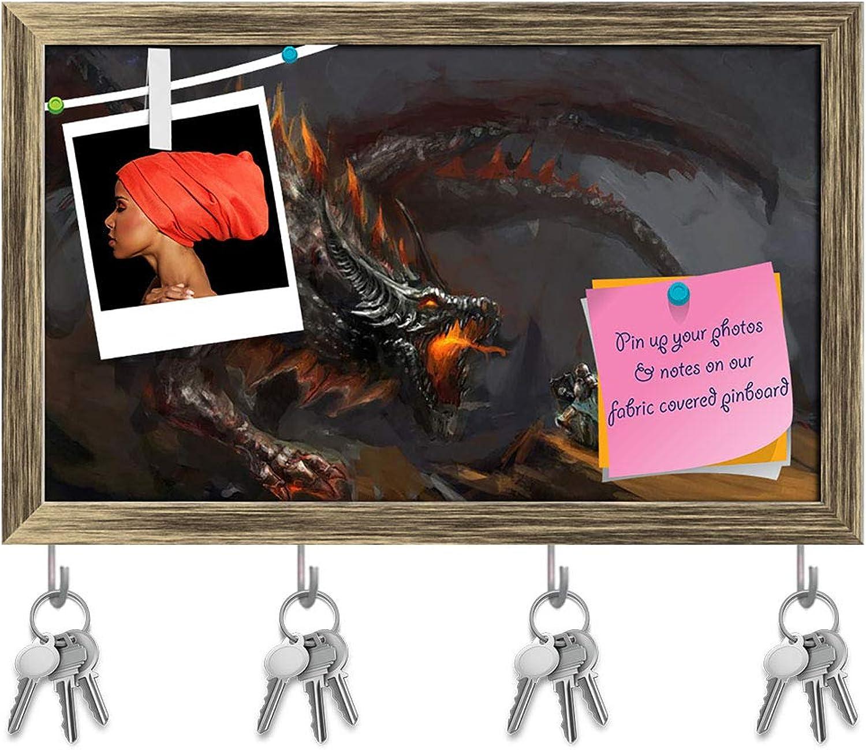 Artzfolio Fantasy Scene Knight Fighting Dragon Key Holder Hooks   Notice Pin Board   Antique golden Frame 19.7 X 12Inch