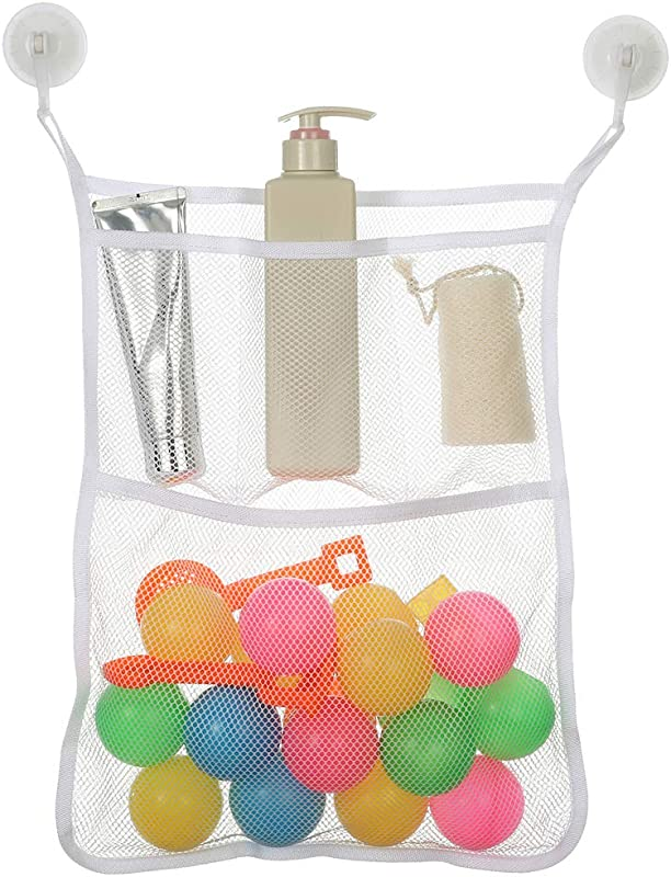 Angla Mesh Hanging Organizer Shower Caddy Bathroom Storage Bags With 4 Pockets Wall Door Mounted Organizer Toys And Diaper Organizer For Baby