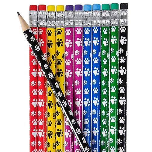 Rhode Island Novelty 7.5 Inch Paw PNT Puppy Dog Theme Wood Pencils Lot of 12