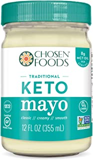 Chosen Foods Keto Mayo Traditional 12 oz., Non-GMO, Gluten Free, Dairy Free for Sandwiches, Dressings, Sauces and Recipes