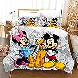MMYANG - Juego de cama infantil, funda de edredón con funda de almohada, diseño 3D de Disney Mickey y Minnie Mouse, poliéster, multicolor, 3 unidades