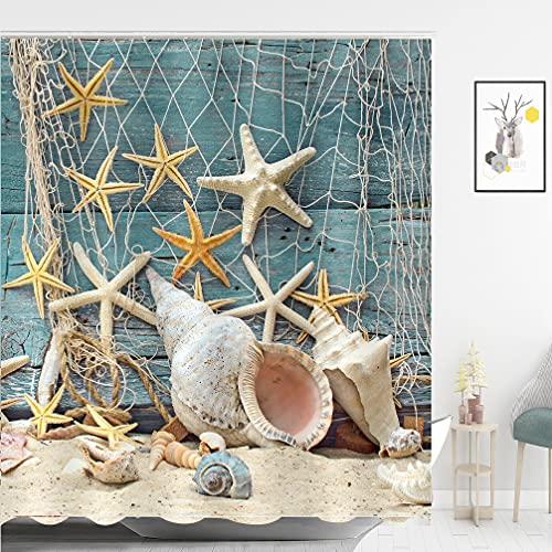 ABxinyoule Beach Shower Curtain Seashell Beach Theme Starfish Shell Waterproof Fabric Bathroom