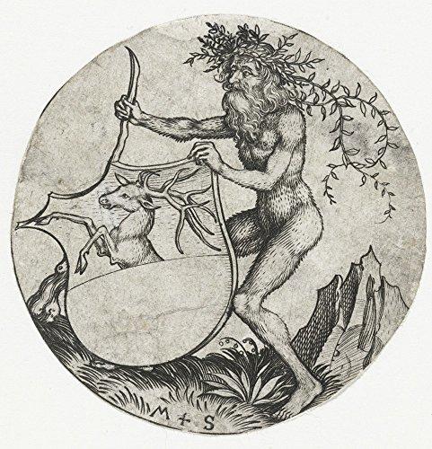 Das Museum Outlet–Mantel mit Ein Reh, Held von einem Wild Man mit einem Club. 1470–1490–Poster Print Online kaufen (101,6x 127cm)