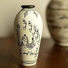 ExclusiveLane 6-inch Hand-Painted Warli Terracotta Showpiece Cum Round Decorative Flower Vase (15.2 cm x 15.2 cm x 8.4 cm, White)