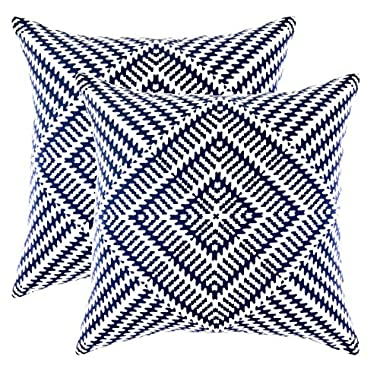 TreeWool Pack of 2 Kaleidoscope Accent Throw Pillow Covers in Cotton Canvas (20 x 20 Inches; Navy Blue)