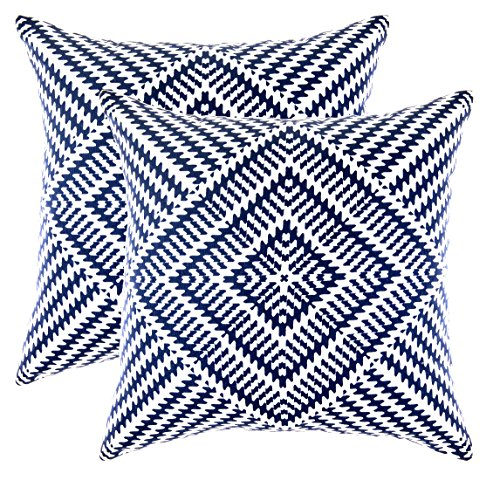 TreeWool (2 Pack) Cushion Covers Kaleidoscope Accent in Cotton Canvas (50 x 50 cm, Navy Blue & White)