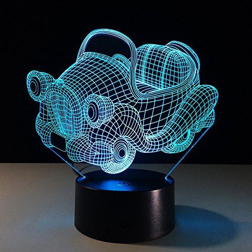 Auto3D-ledlamp voor in de woonkamer, retro schommel, nachtlampje voor kinderkamer, perfect cadeau voor kinderen