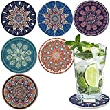 DINGHENG Untersetzer Saugfähige Keramik Untersetzer mit Korkrücken Mandala Stil für Tassen Tisch Bar Glas 6er Set