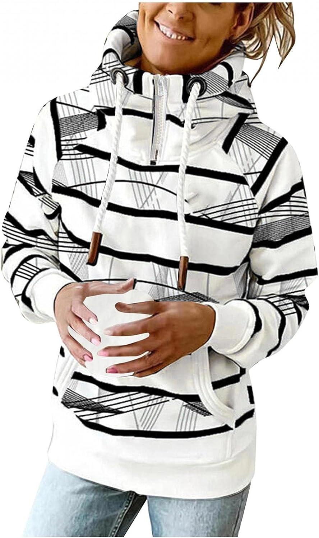 ONHUON Hoodies for Women, Women Casual 1/4 Zip High Neck Hooded Sweatshirt Striped Colorblock Pullover Tops with Pocket