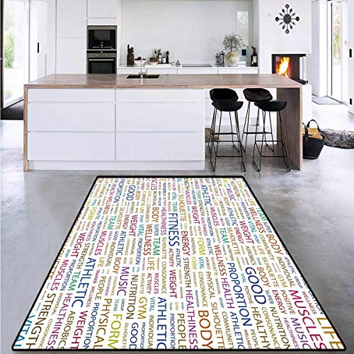 Fitness, Room Home Bedroom Carpet Floor Mat, Gymnastics Psyhical Activity Lifestyle Concept Words Salubrity Wellness Health, Area Rug Extra Large 6'6