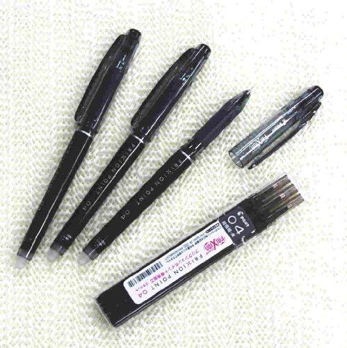 Pilot Frixion Point Erasable Gel Pens, Extra Fine Point,-0.4mm-black Ink-value set of 3 & 3 Gel Ink Pen Refill Pack