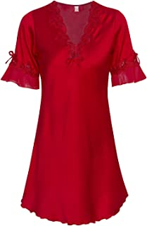 VIQIV Nightshirt Womens Satin Sleepwear Robe Silk Lace Nightgown Bathrobe Nightwear