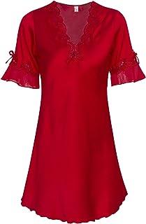 VIQIV Nightshirt Womens Satin Sleepwear Robe Silk Lace Nightgown Bathrobe Nightwear
