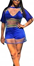 Ophestin Women Short Sleeve 3 Piece Outfits Rompers Strap Stripe Crop Top Shorts Set with Mesh Cover Up Shirt